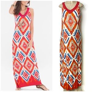 CHICO'S Multi-Color Exploded Ikat Knit Maxi Dress